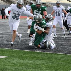 Tackled at the goal line.