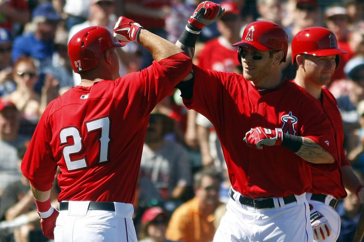 Mike Trout and Justin Hamilton celebrate their first of many homeruns