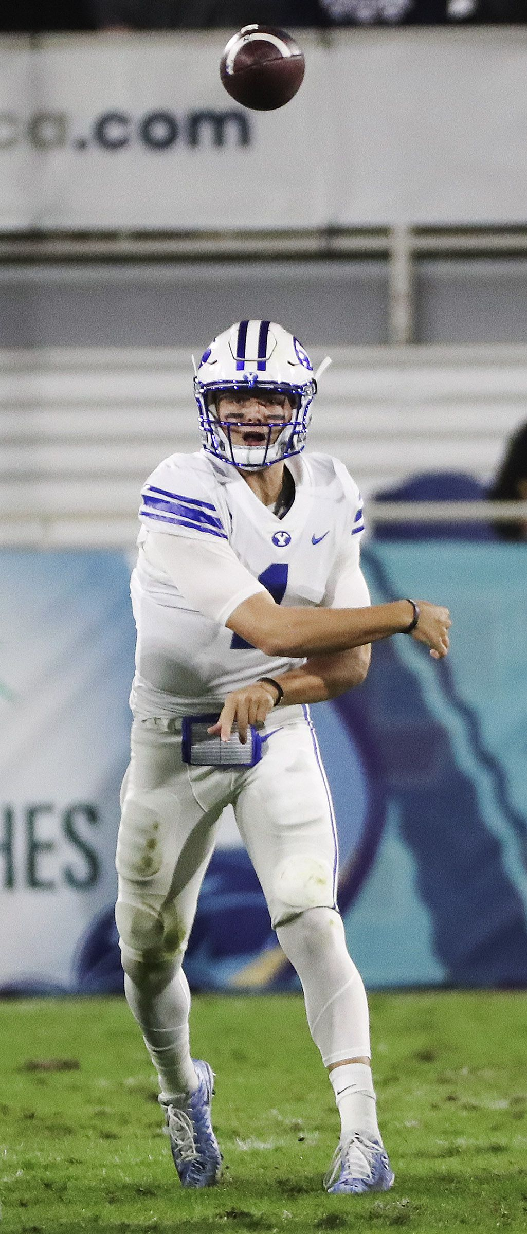 Brigham Young Cougars quarterback Zach Wilson (1) throws against the UCF Knights during the Boca Raton Bowl in Boca Raton, Fla., on Tuesday, Dec. 22, 2020.