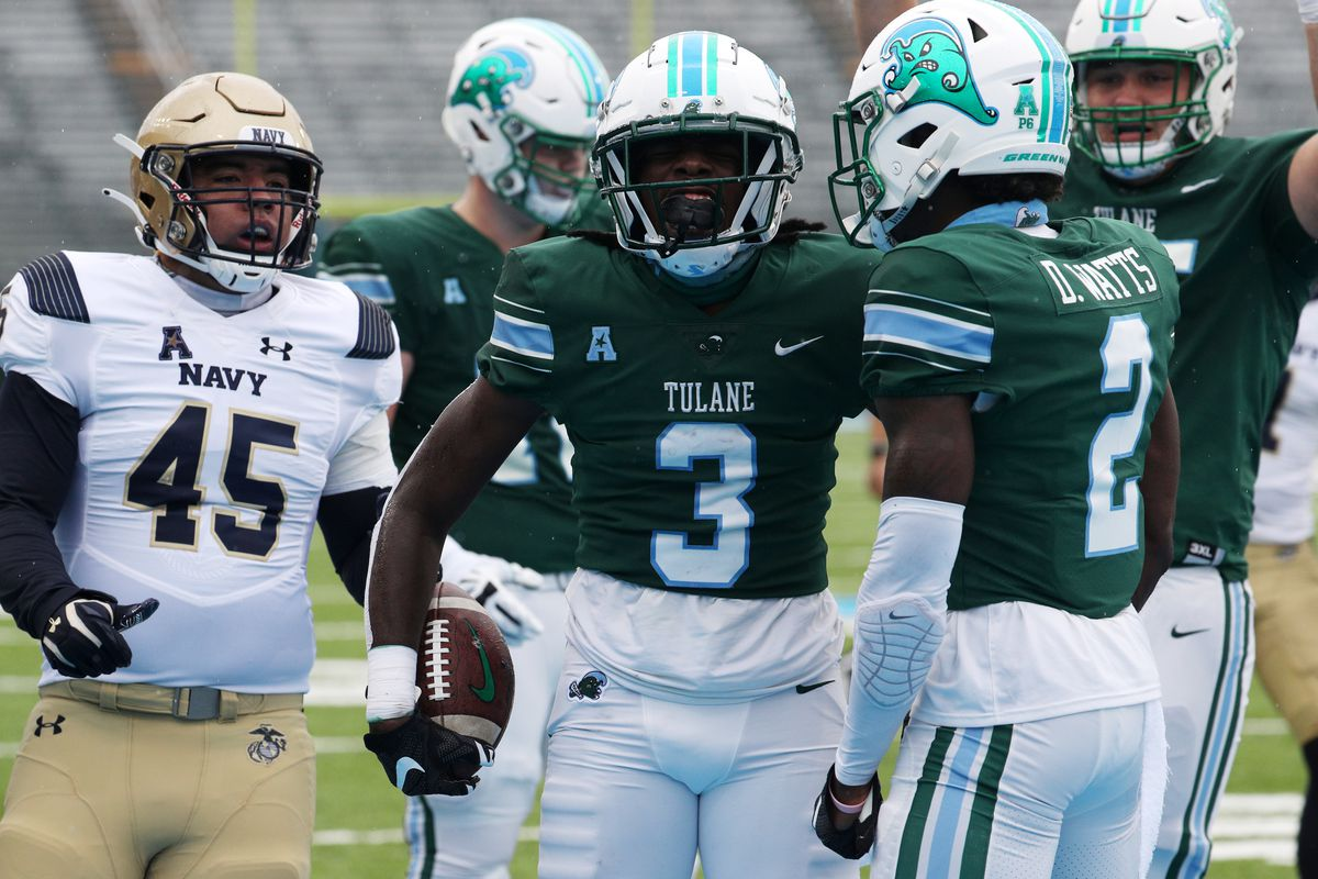 Phat Watts of the Tulane Green Wave reacts after a score against the Navy Midshipmen at Yulman Stadium on September 19, 2020 in New Orleans, Louisiana.