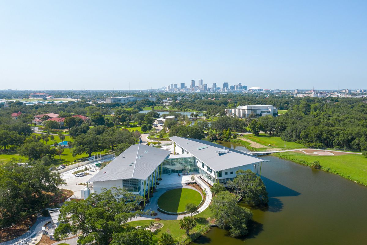 Aerial view of the new Louisiana Children's Museum and surrounding lagoons