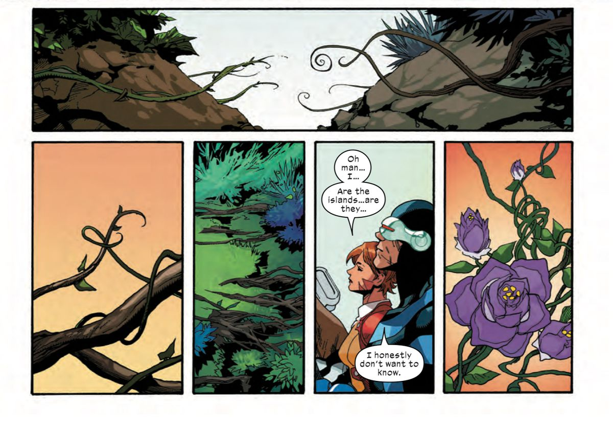The sentient islands of Krakoa and Arakko meet and knit themselves together with lots of suggestive vines and flowers, as Cyclops, Cable, and Rachel Summers watch in X-Men #2, Marvel Comics (2019).
