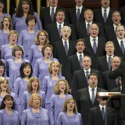 Members of the Tabernacle Choir perform during the morning session of 183 annual General Conference of the Church of Jesus Christ of Latter Day Saints Saturday, April 6, 2013 inside the Conference Center.