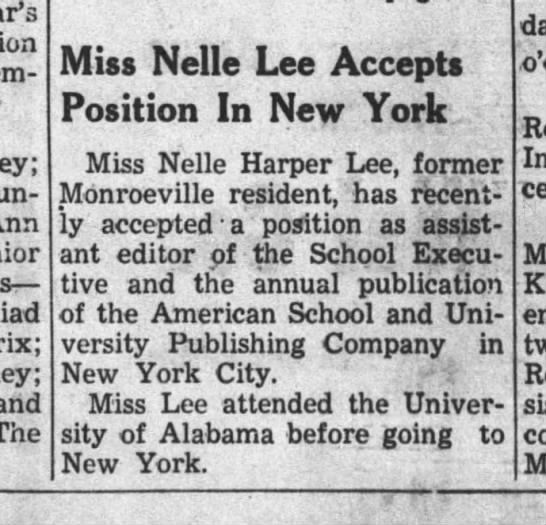 """Clipping of a 1949 article in The Monroe Journal titled """"Miss Nelle Lee Accepts Position in New York."""""""