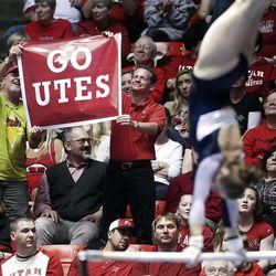 Utah fans have a good time during the NCAA Salt Lake Regional Gymnastics Saturday, April 7, 2012 in Salt Lake City.