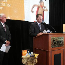 Amber Alert GPS founder Russ Thornton (right) and Mark Hurst, Director of Marketing, speak at a press conference at the Marriott in downtown Salt Lake City Monday.