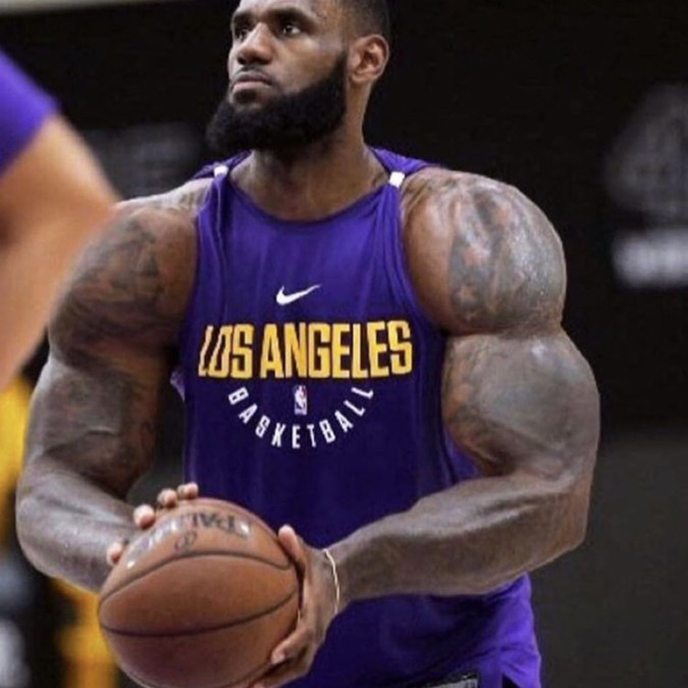5d893d995c5 LeBron James posts comically swole photo on Instagram to joke about playing  more center on Lakers this season - Silver Screen and Roll