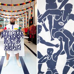 """OC's vintage guru Brian Procell <a href=""""http://www.openingceremony.us/entry.asp?pid=6159"""">holds up</a> a Missoni Sport shirt covered with discus throwers."""