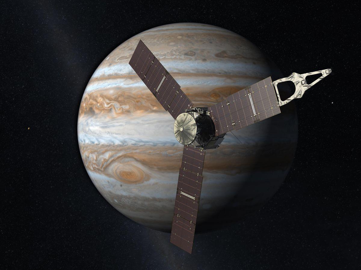 A rendering of NASA's Juno spacecraft.