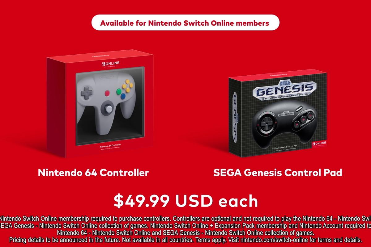 Nintendo 64 Controller and Sega Genesis Control Pad for Nintendo Switch Online