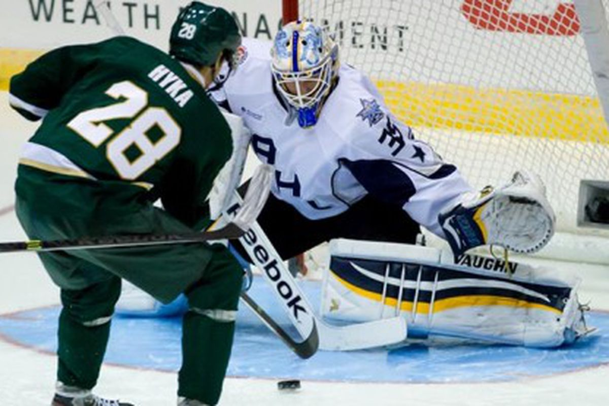 Jake Allen starts, makes 14 saves, shuts out visiting Swedes in first half of AHL All-Star classic. Photo by