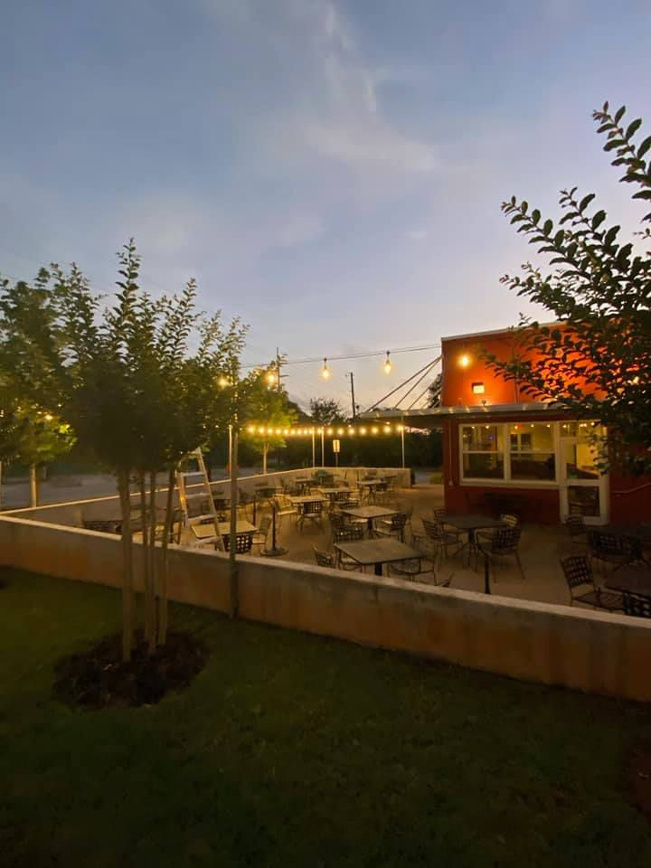 The patio at Lake and Oak BBQ in East Lake, Atlanta
