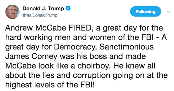 """Andrew McCabe fired: Donald Trump says it's a """"great day for democracy"""" -  Vox"""