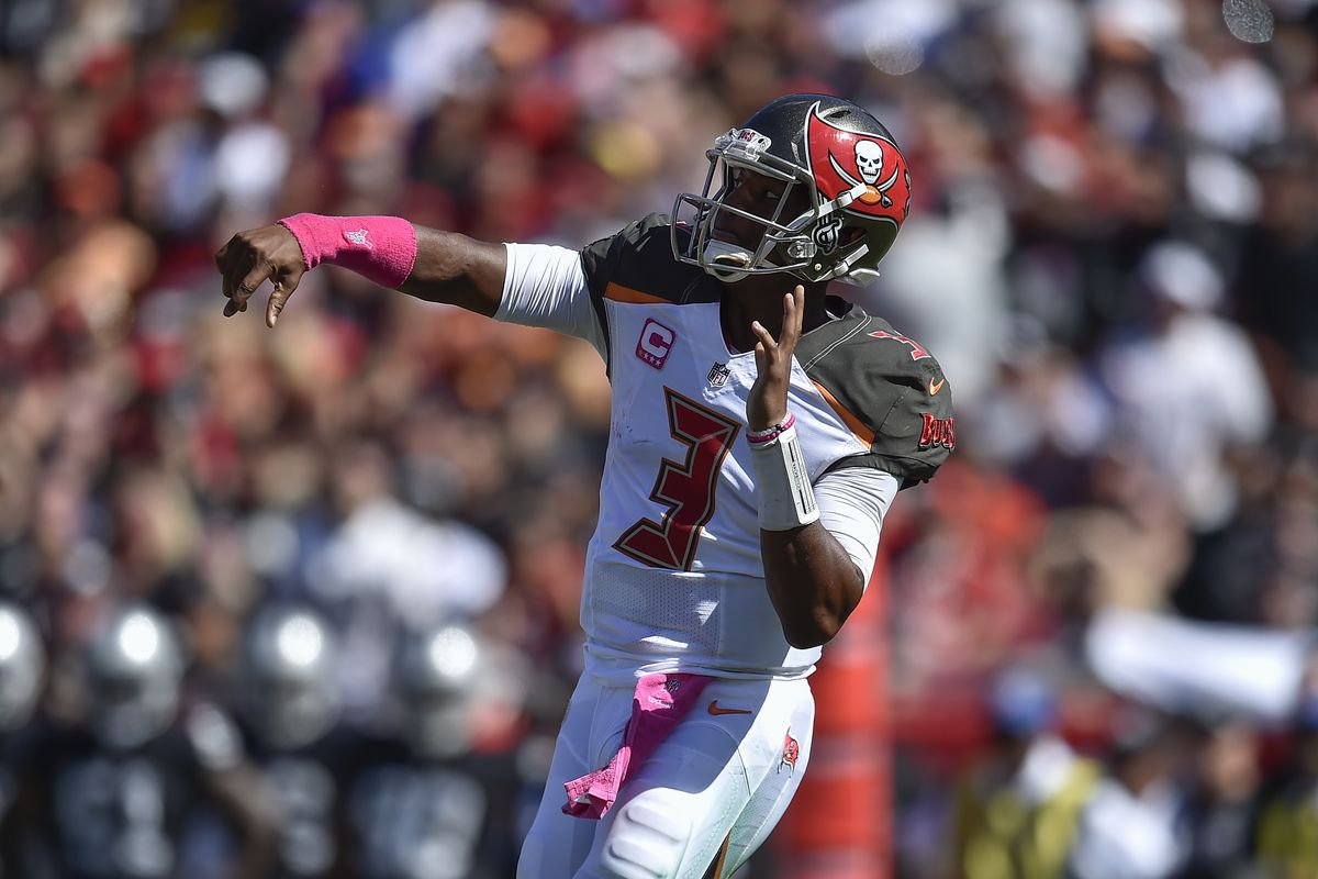 Tampa Bay Buccaneers Quarterback Jameis Winston releases a pass during an NFL football game between the Oakland Raiders and Tampa Bay Buccaneers on October 30, 2016, at Raymond James Stadium in Tampa, FL .