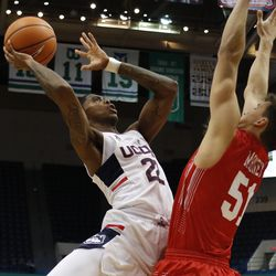UConn's Terry Larrier (22) goes strong to the basket.