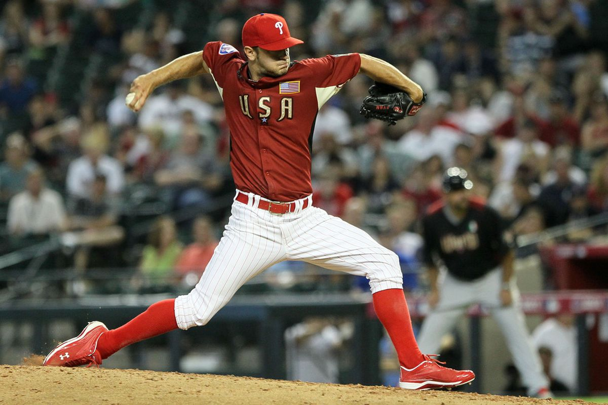 Cosart: Yeah, inverted W anyways, good luck w/ that Houston!  (Photo by Jeff Gross/Getty Images)