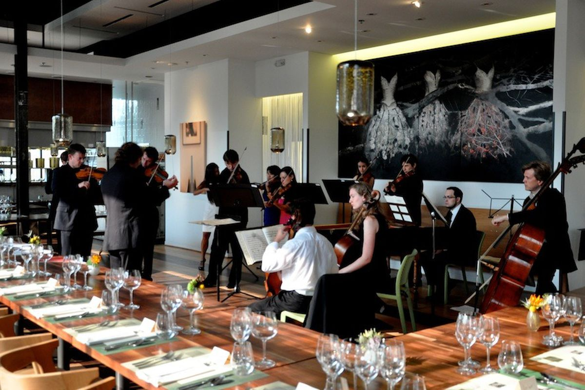 Mercury warms up before the pairing dinner begins inside Triniti's dining room.