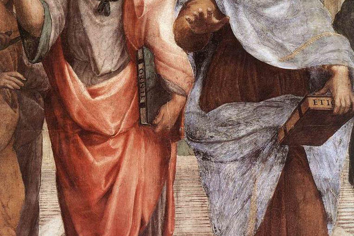 """Plato & Aristotle via <a href=""""http://upload.wikimedia.org/wikipedia/commons/9/98/Sanzio_01_Plato_Aristotle.jpg"""">Wikimedia Commons</a>, public domain."""