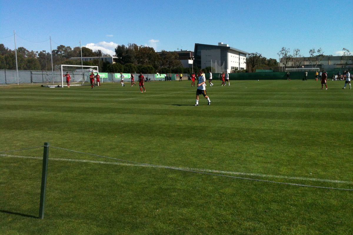 Michael Stephens sets up for a corner kick against Chivas USA. Credit: LAGConfidential.