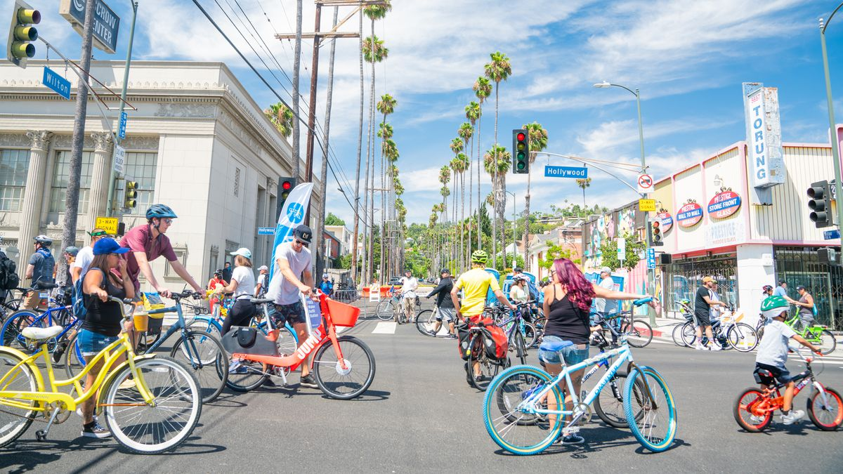 A group of people on colorful bikes are riding down a street opposite another street lined with palm trees.
