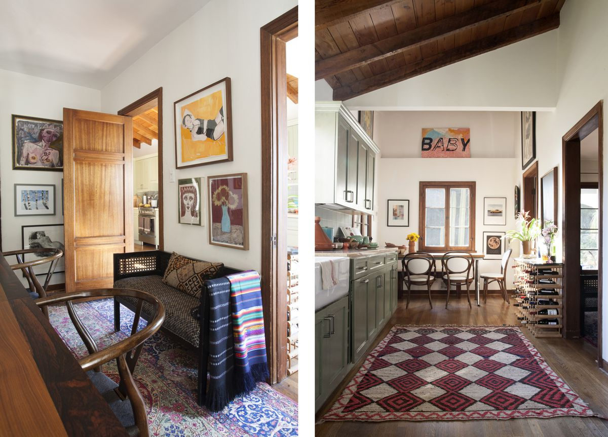 A dining room is adorned with artwork by the designer and her kids. A kitchen has a breakfast room off of it.