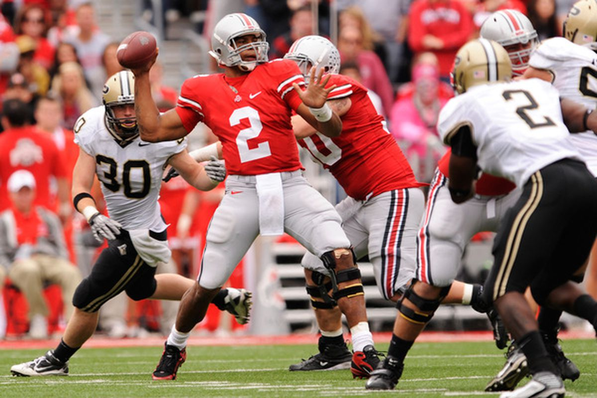 COLUMBUS OH - OCTOBER 23:  Terrelle Pryor #2 of the Ohio State Buckeyes throws a pass in the first half against the Purdue Boilermakers at Ohio Stadium on October 23 2010 in Columbus Ohio.  (Photo by Jamie Sabau/Getty Images)