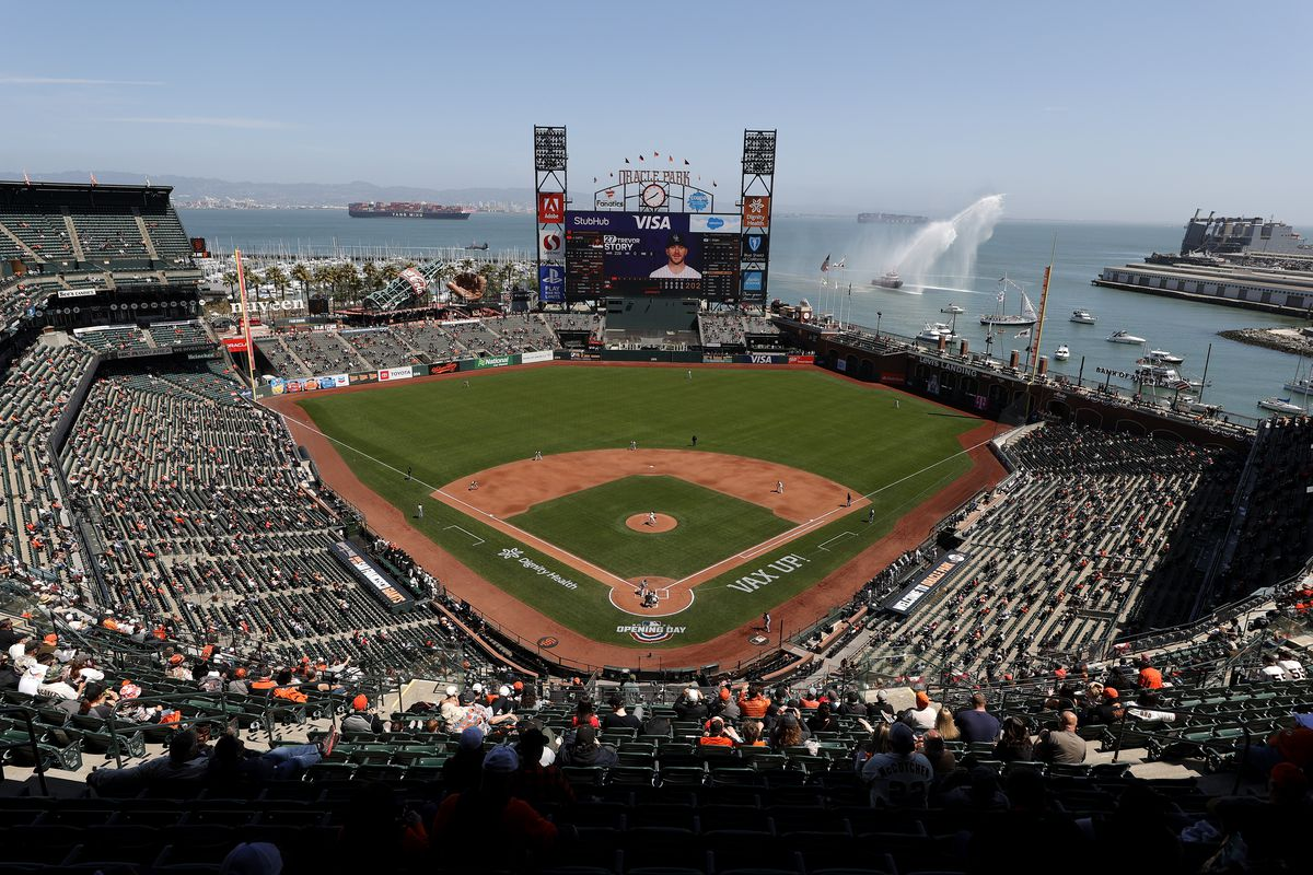 A general view of the San Francisco Giants playing against the Colorado Rockies in the Giants home opener at Oracle Park on April 09, 2021 in San Francisco, California.