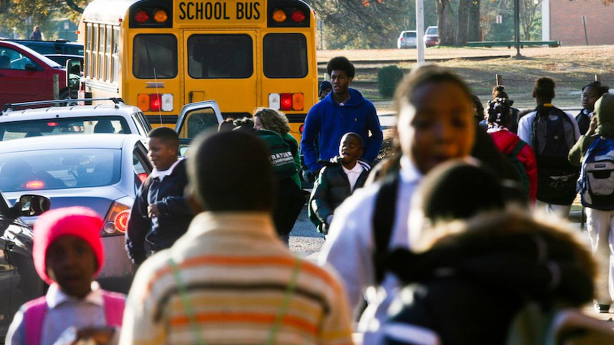 Students outside a school that's part of the state-run Achievement School District.