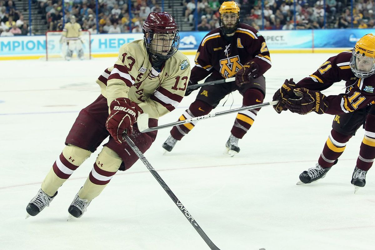 Boston College junior Johnny Gaudreau picked up his 100th career point in Friday's win over Wisconsin. The Eagles face Minnesota next weekend for a pair of games at Mariucci Arena in Minneapolis, Minn.