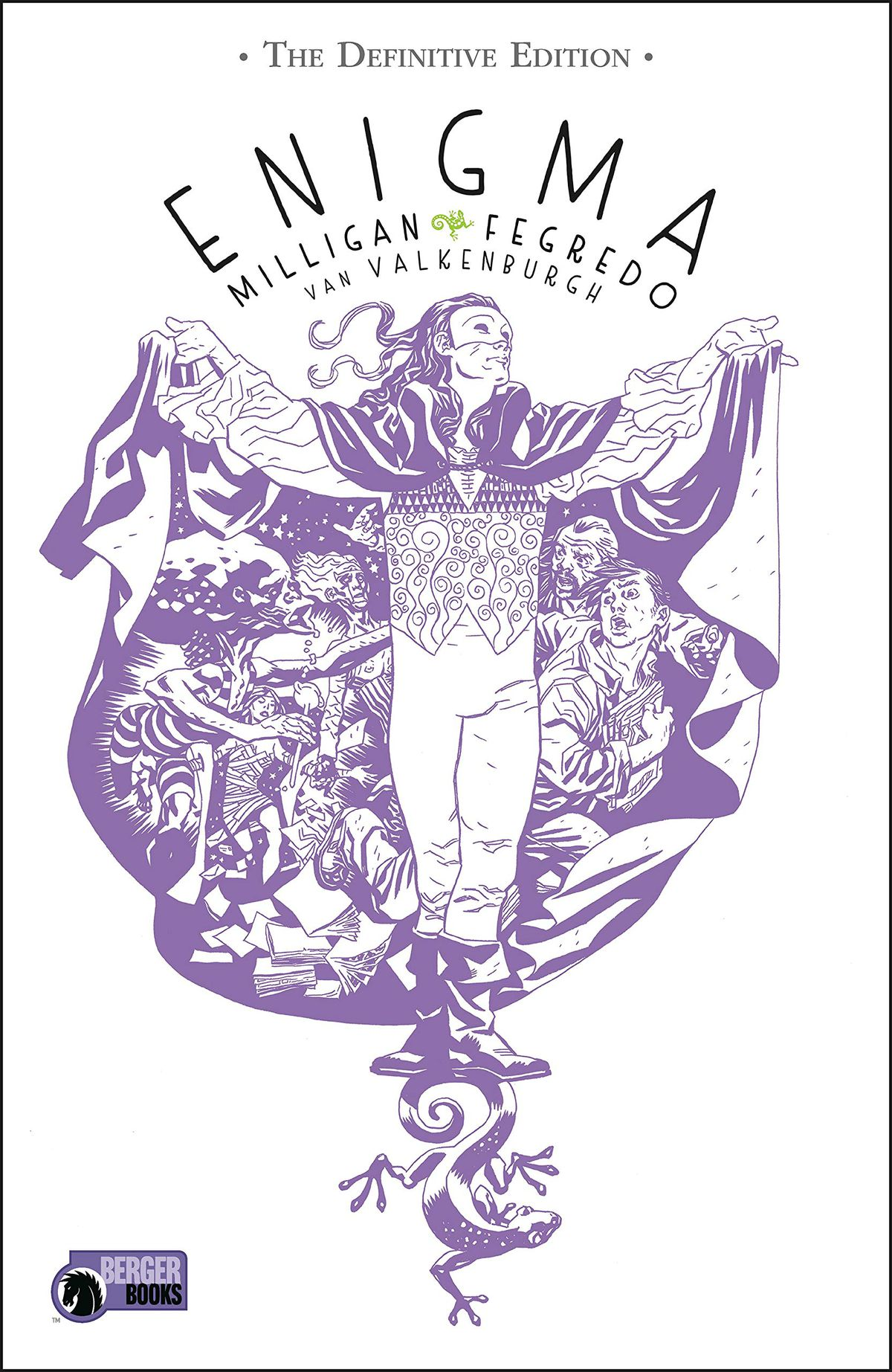 A masked man spreads his voluminous cloak, the inside of which is decorated with figures and scenes on the cover of Enigma: The Definitive Edition (2021).