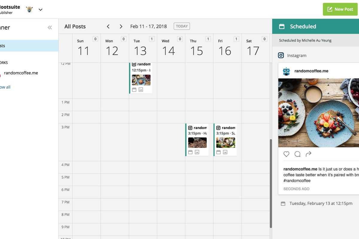 Hootsuite allows brands to schedule Instagram content