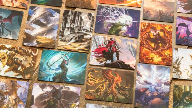 A collection of playing-card sized cards with art on them, drawn from the Zendikar Rising set of Magic: The Gathering cards.