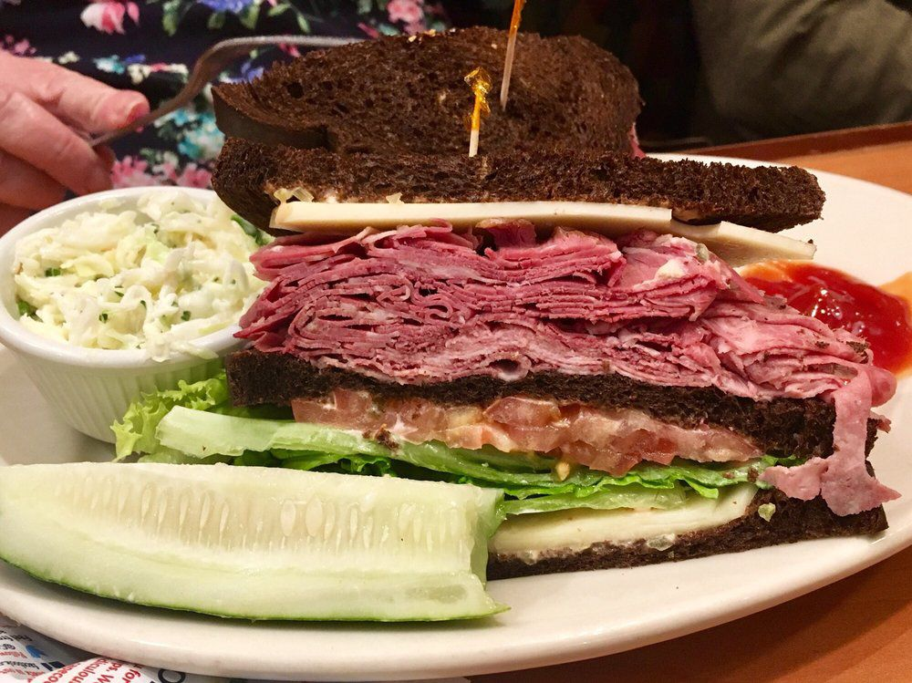 s and s deli - beef tongue sandwich on pumpernickel