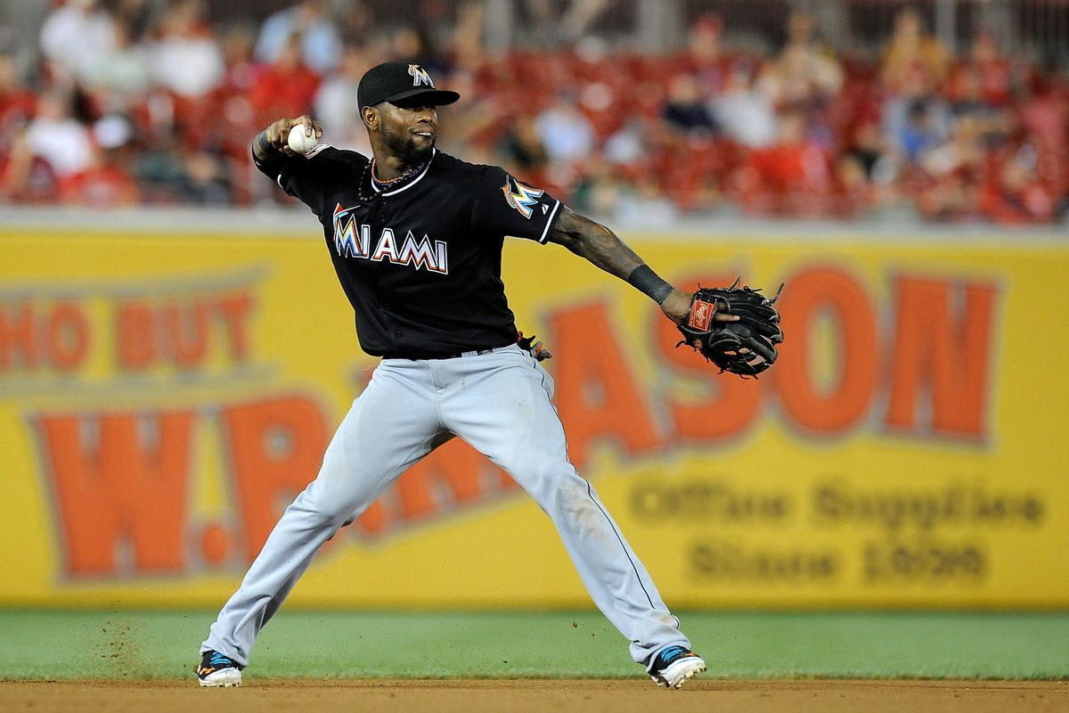 WASHINGTON, DC - AUGUST 03:  Jose Reyes #7 of the Miami Marlins makes a throw to first base in the seventh inning against the Washington Nationals at Nationals Park on August 3, 2012 in Washington, DC.  (Photo by Patrick McDermott/Getty Images)