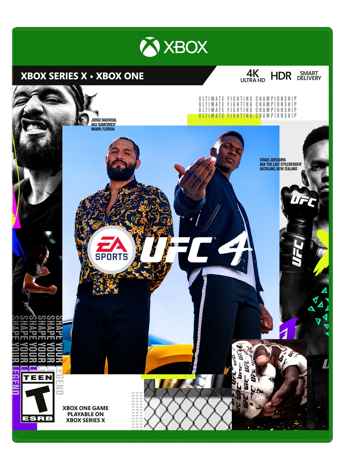 the Xbox One Box Art for EA Sports UFC 4 with Jorge Masvidal and Israel Adesanya