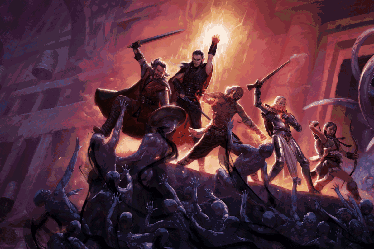 A party of heroes fights against a writhing mass of undead. They are trapped at a dead end, atop a pinnacle of stone.