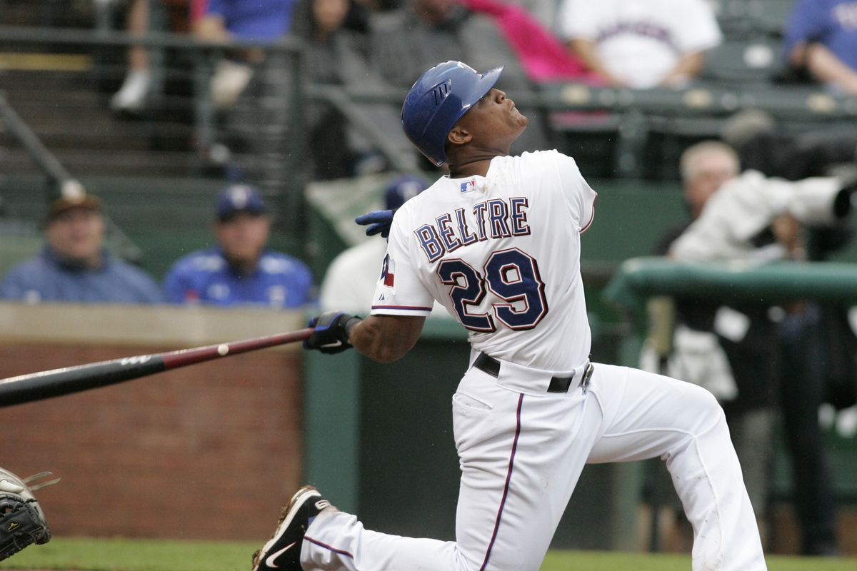 Sep 16, 2012; Arlington, TX, USA; Texas Rangers third baseman Adrian Beltre (29) bats during the sixth inning of the game against the Seattle Mariners at Rangers Ballpark. The Rangers beat the Mariners 2-1. Mandatory Credit: Tim Heitman-US PRESSWIRE