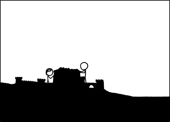 """Two stick figure characters build a sandcastle in a panel from the XKCD comic """"Time."""""""