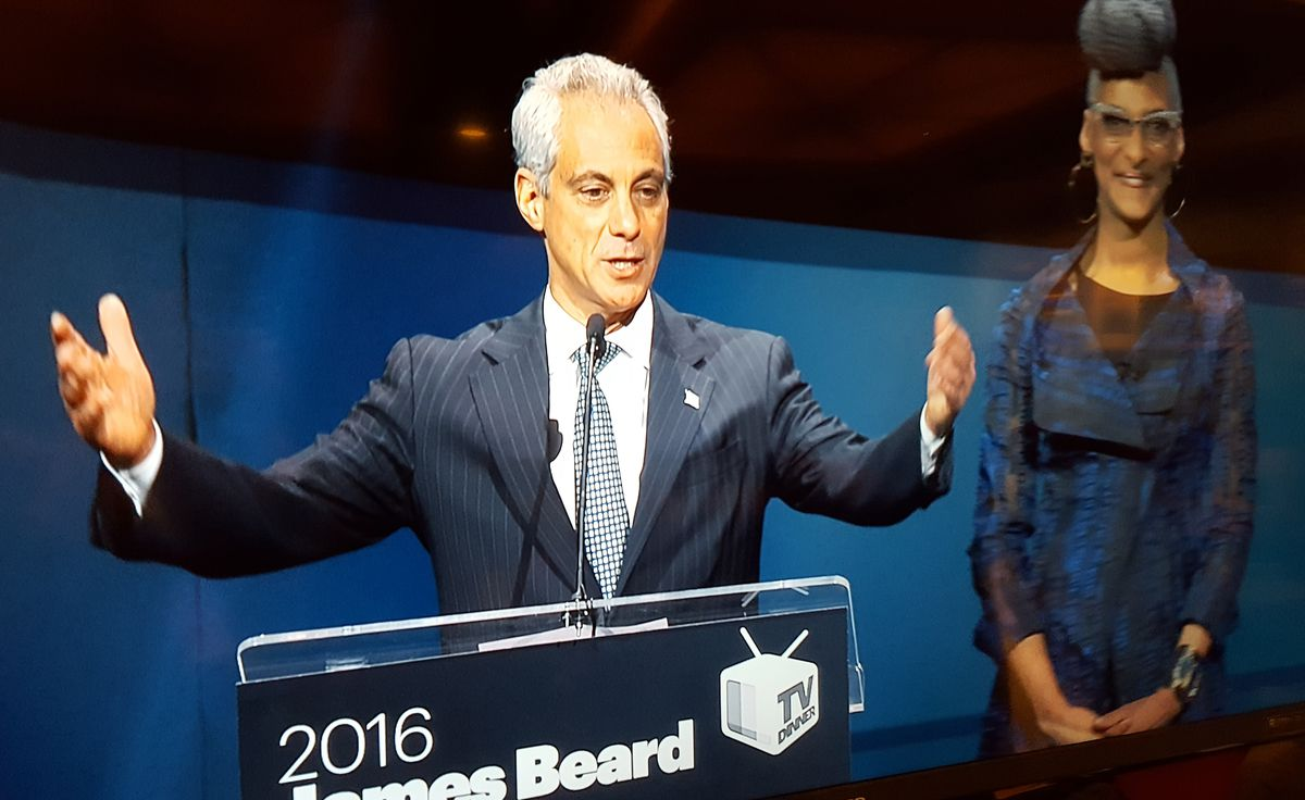 Mayor Rahm Emanuel (with chef/host Carla Hall) welcomes guests to the James Beard Awards gala ceremony on May 2, 2016, at Chicago's Civic Opera House. | MIRIAM DI NUNZIO/ VIDEO PHOTO