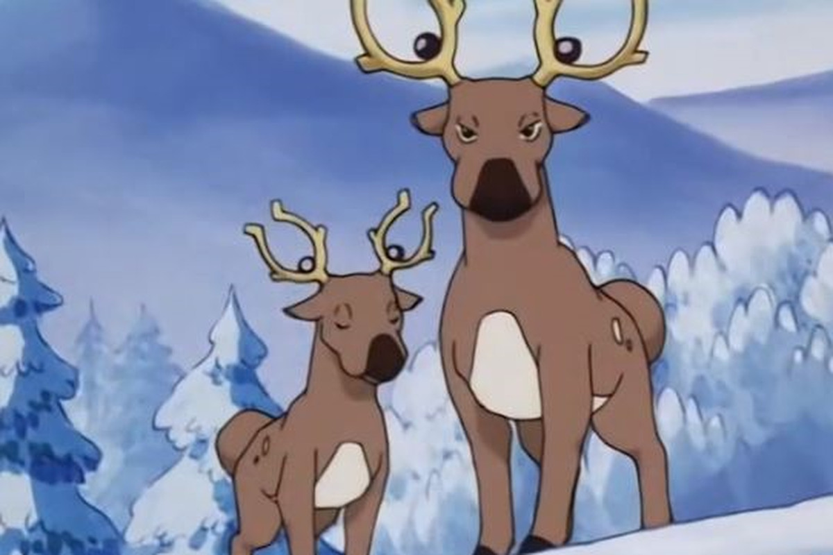 Two deer-like Pokémon stand on a snowy slope