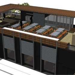Patio rendering. It's slated to open in Spring 2014.