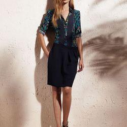 Button-down bib woven shirt, $48; Tucked skirt, $50