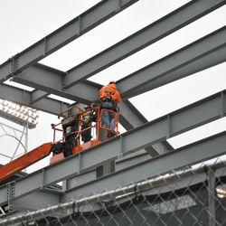 Steel workers in the right-field bleachers -