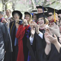 Southern Virginia University faculty members applaud the class of 2013.