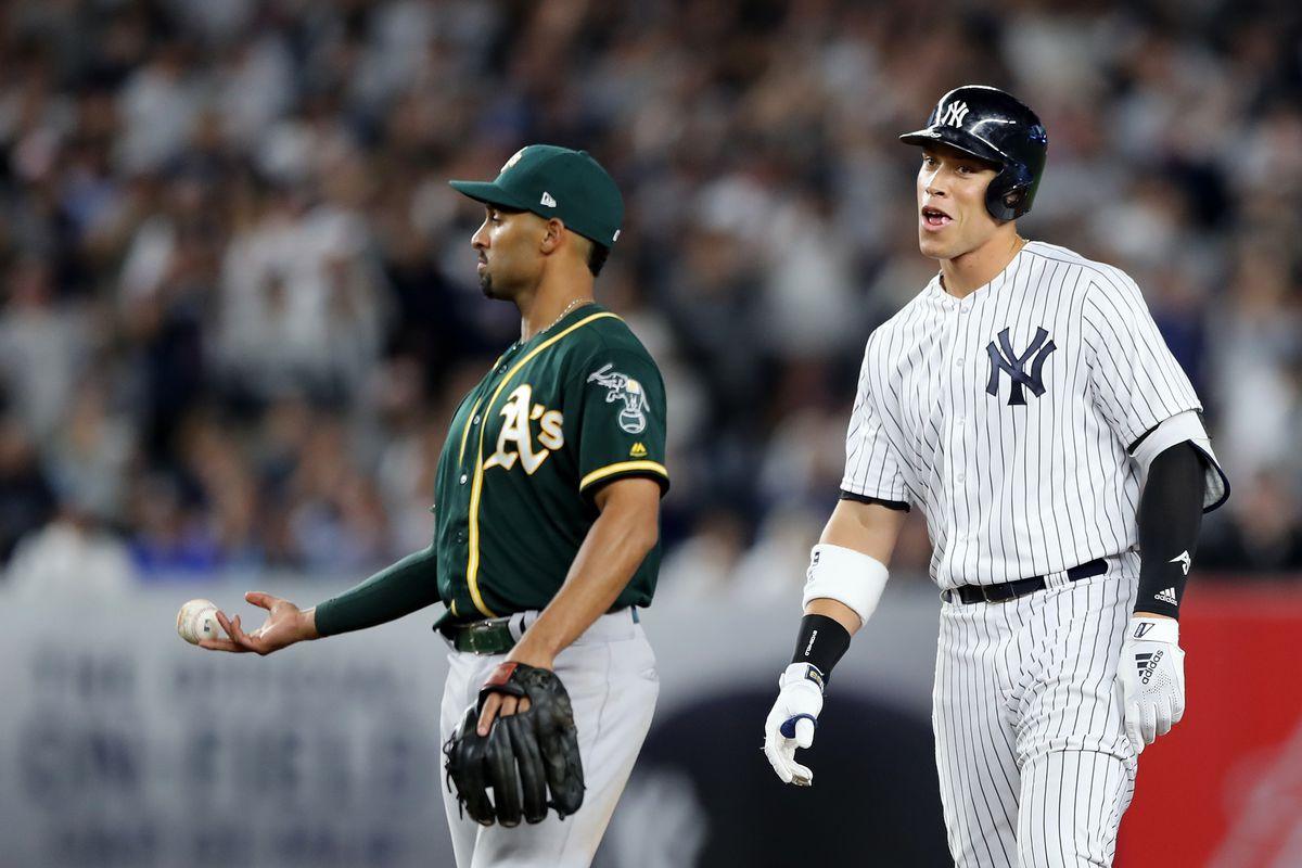 Aaron Judge celebrates a home run against the Athletics