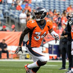 Broncos S Will Parks during pregame warmups.