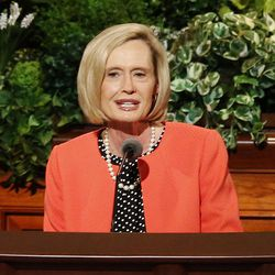 Sister Bonnie H. Cordon, second counselor in the Primary General Presidency of The Church of Jesus Christ of Latter-day Saints, speaks during the General Women's Session of the 187th Annual General Conference in the Conference Center in Salt Lake City on Saturday, March 25, 2017.