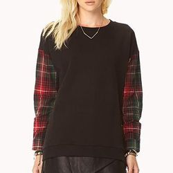 """<b>Forever 21</b> On The Range Plaid Sweatshirt, <a href=""""http://www.forever21.com/Product/Product.aspx?Br=F21&Category=sweater&ProductID=2074736771&VariantID="""">$19.80</a>"""