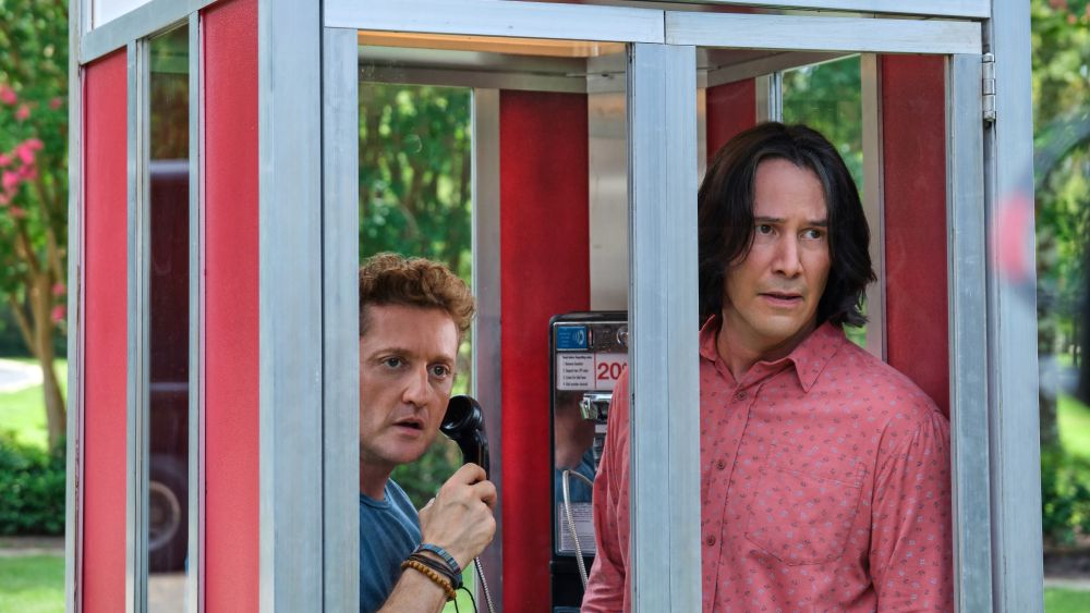 Bill (Alex Winter) and Ted (Keanu Reeves) in a phone booth in Bill & Ted Face the Music