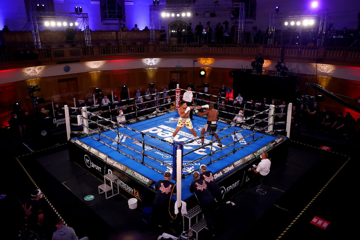 General view inside the venue during the WBC Silver heavyweight title, British, Commonwealth and European heavyweight title fight between Daniel Dubois and Joe Joyce during the WBC Silver heavyweight title, British, Commonwealth and European Heavyweight title fight between Daniel Dubois and Joe Joyce at The Church House on November 28, 2020 in London, England.